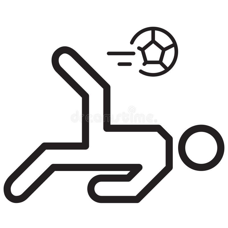 简单的足球运动员倒钩球相关传染媒介线象 ` 库存例证