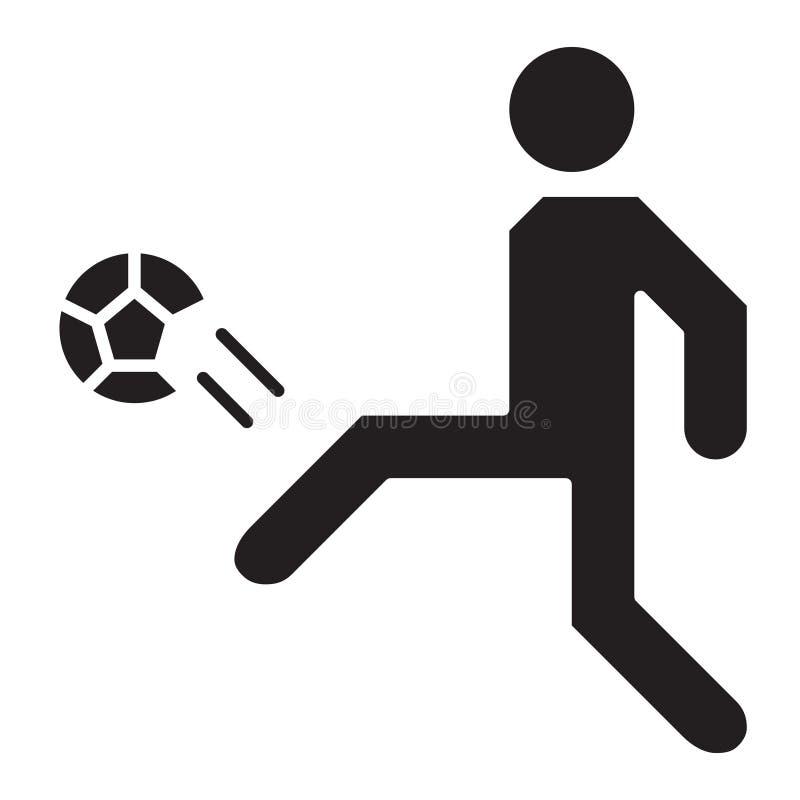 简单的足球运动员球门球相关传染媒介平的象 纵的沟纹S 库存例证
