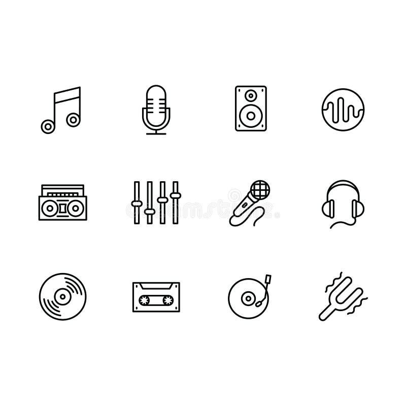 简单的集合现代和减速火箭的音乐设备传染媒介线象 包含这样象笔记,话筒,音乐报告人,磁带 库存例证