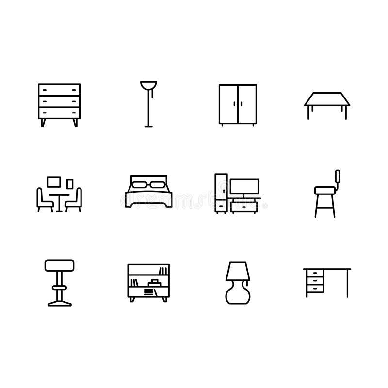 简单的集合符号家具和内部室线象 包含这样象五斗橱,衣橱,椅子,桌 库存例证