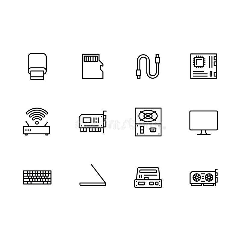 简单的集合符号计算机硬件和组分概述象 包含这样象电源,显示卡,usb 皇族释放例证