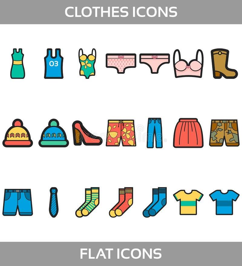 简单的集合ofÂ衣裳和购物导航与概述象的舱内甲板 包含suchIconsasT恤杉,起动,鞋子,裤子, 库存例证