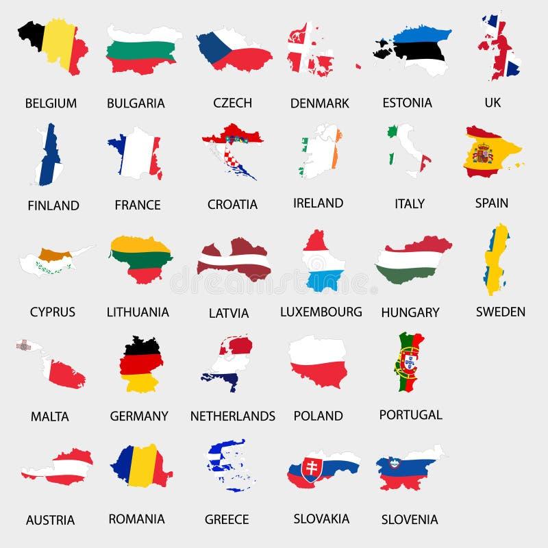 简单的颜色下垂象地图收集eps10的所有欧盟国家 库存例证