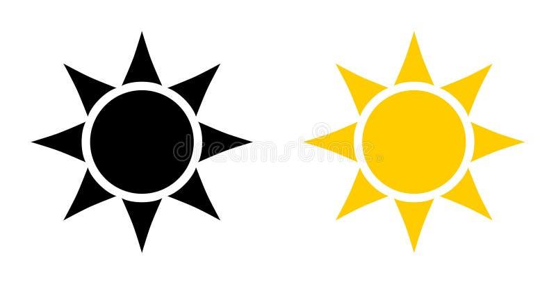 简单的黑和黄色太阳象 与六个三角的圈子在p 向量例证