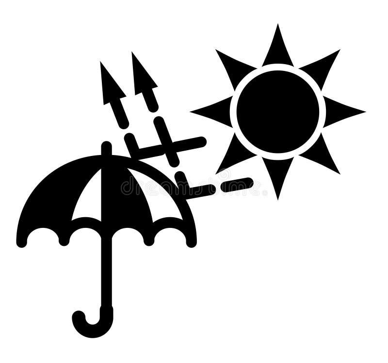 简单的黑白太阳uva, uvb保护象 太阳光芒 向量例证