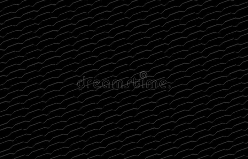 简单的黑色背景,现代黑背景,艺术线形之字形乱画黑暗的墙纸,黑被加锯齿镶边了 皇族释放例证
