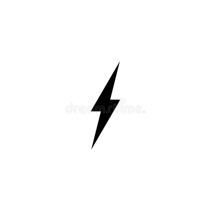简单的黑雷象 雷电和一刹那点燃的标志 库存例证
