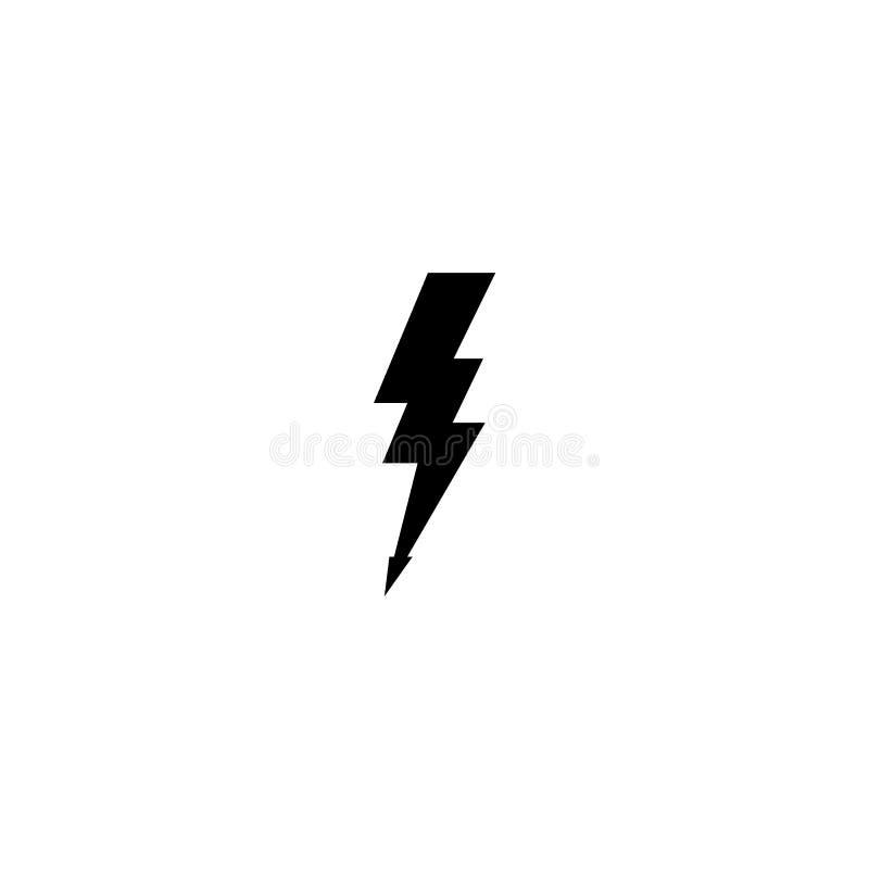 简单的黑雷象 雷电和一刹那点燃的标志 向量例证