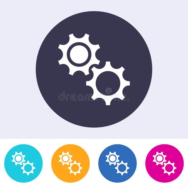 简单的齿轮象五颜六色的按钮 皇族释放例证