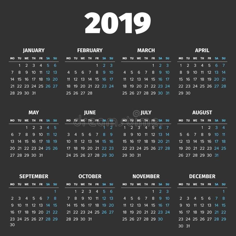 简单的2019年日历 皇族释放例证