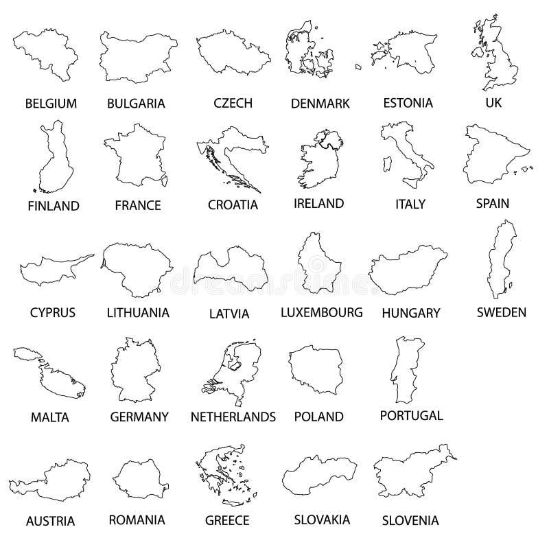 简单的黑概述映射所有欧盟国家汇集eps10 皇族释放例证