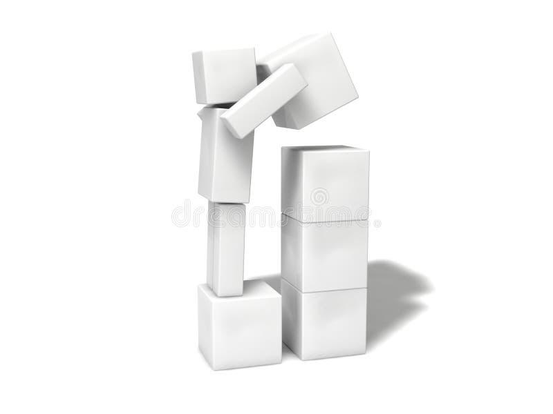 简单的3d立方体字符 向量例证