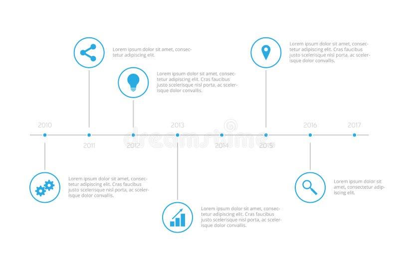 简单的Infographic时间安排-天蓝色 库存例证