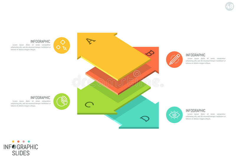 简单的Infographic设计模板 四在平的箭头形状的元素上写字安置了一在其他和指向上 库存例证