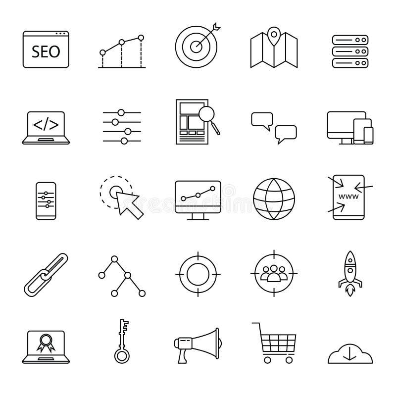 简单的seo象为网站或基本的元素设置了与概述或线型 向量例证