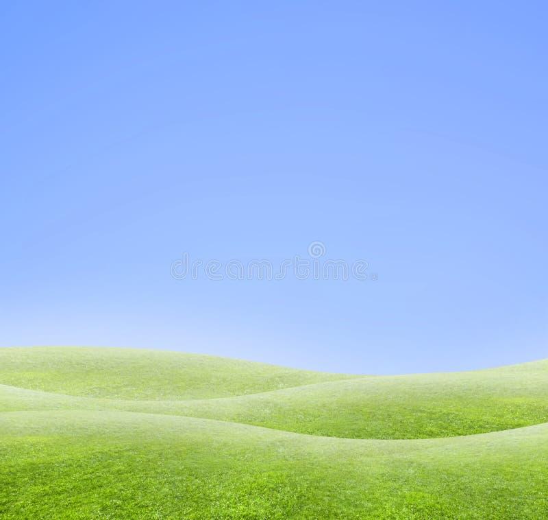 简单背景蓝色弯曲的绿色的展望期 库存例证