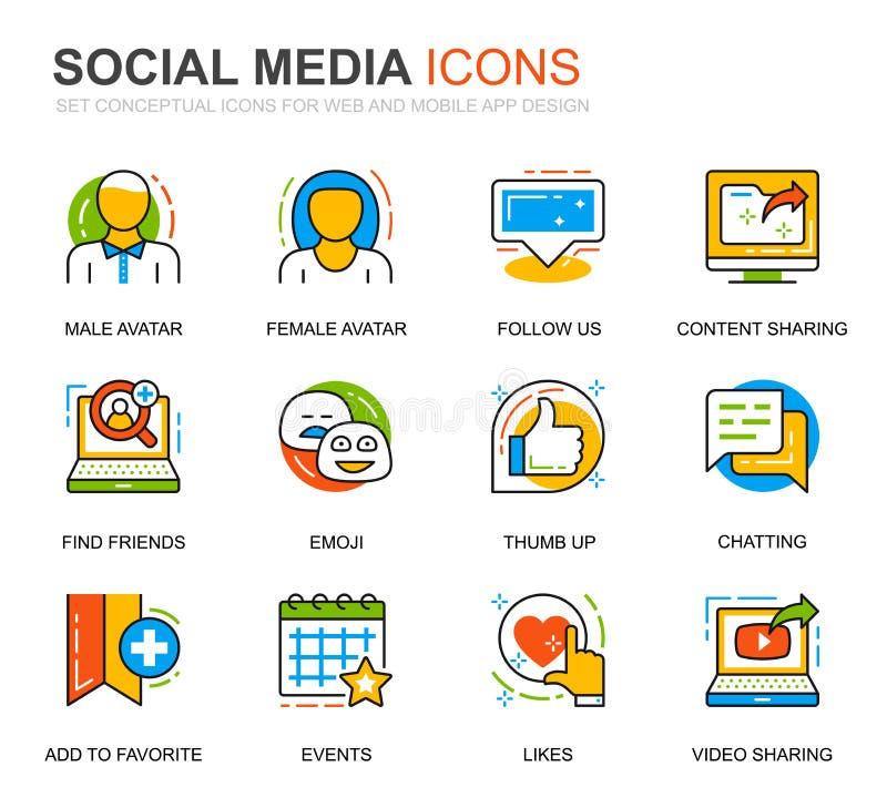 简单设置网站和移动应用的社交媒体和网络线图标 矢量象形图包 向量例证
