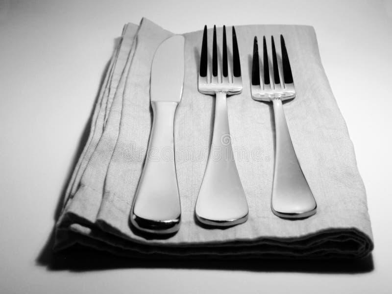 简单餐位餐具的银 免版税库存照片
