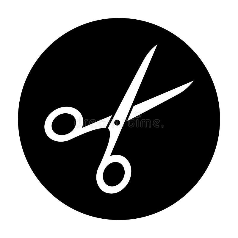 简单,圆黑白剪刀白色剪影象 向量例证