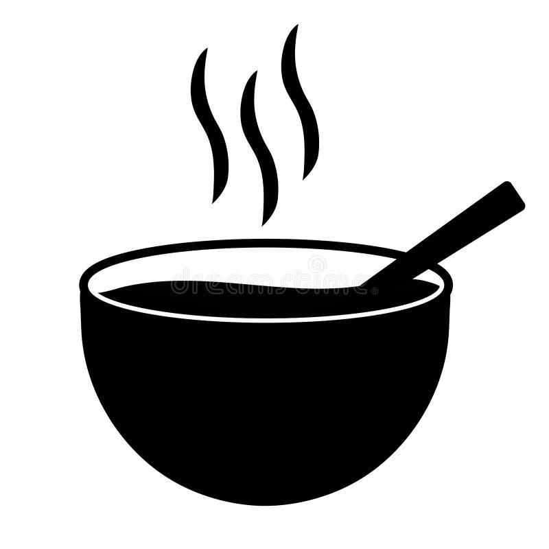 简单,平,黑白碗汤热的象 查出在白色 向量例证
