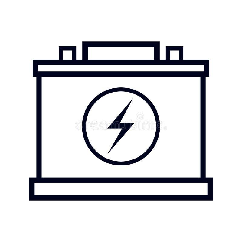 简单,黑汽车电池/累加器线艺术象 查出在白色 库存例证