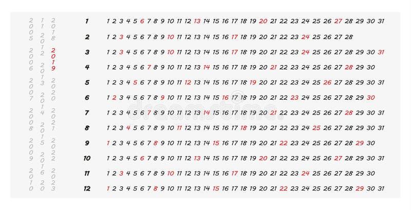简单2019与被突出的星期天的水平的年日历 库存例证