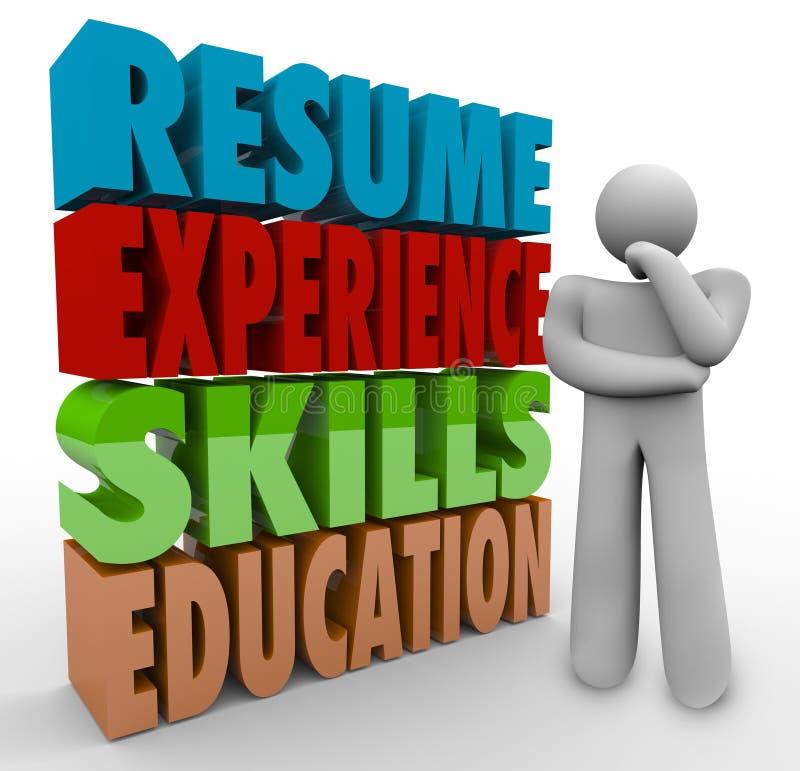 简历经验技能运用工作Qualific的教育思想家 向量例证