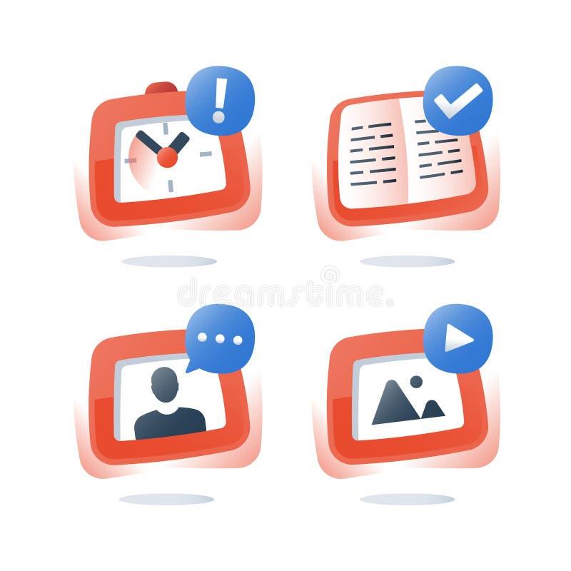 简要的路线,网上教育,录影讲解,开放课本,检查准备,遥远学会,家庭教师教的主题 向量例证