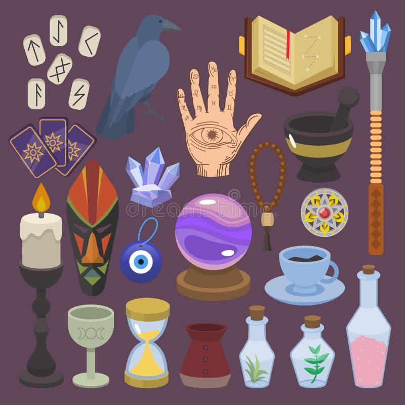 算命传染媒介算命或魔术师幸运魔术有占卜用的纸牌和蜡烛的例证套  皇族释放例证
