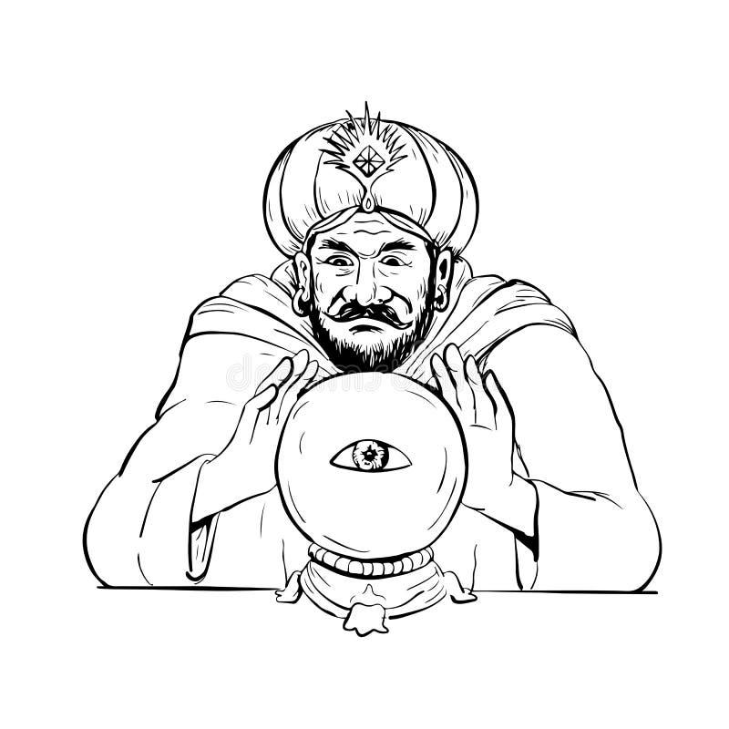 算命者水晶球图画 皇族释放例证