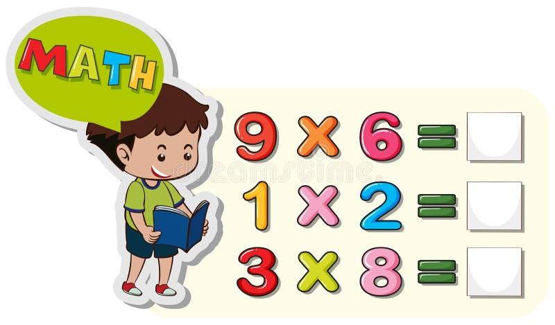算术与男孩和增殖问题的活页练习题模板 库存例证