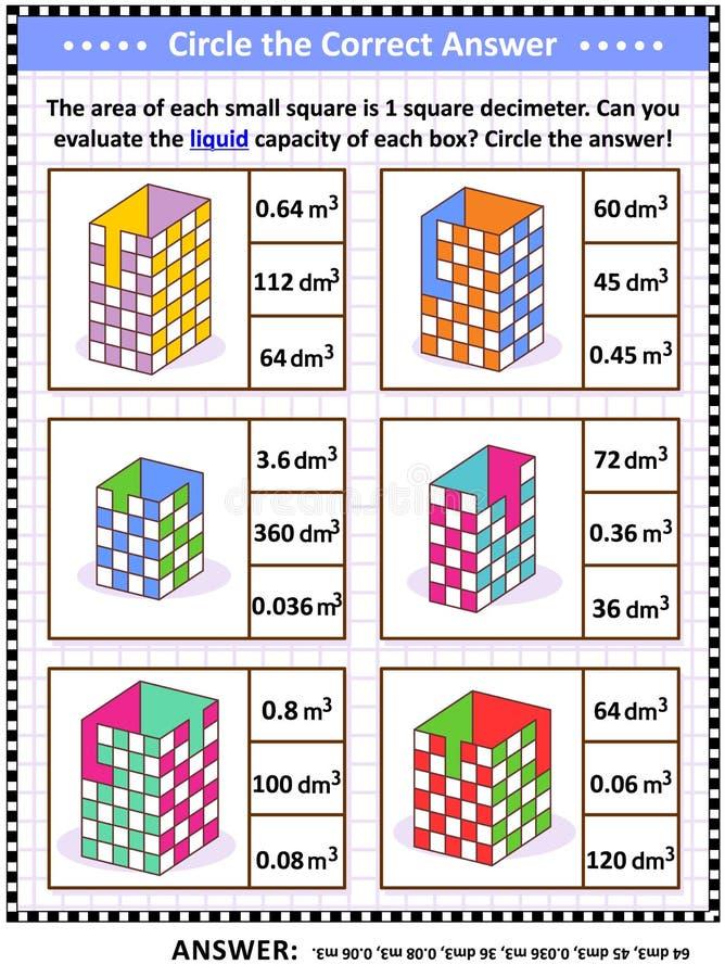 算术技能训练难题或活页练习题与容器液体容量评估 库存例证