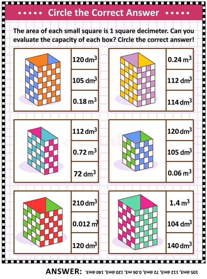 算术技能训练难题或活页练习题与箱子容量评估 向量例证