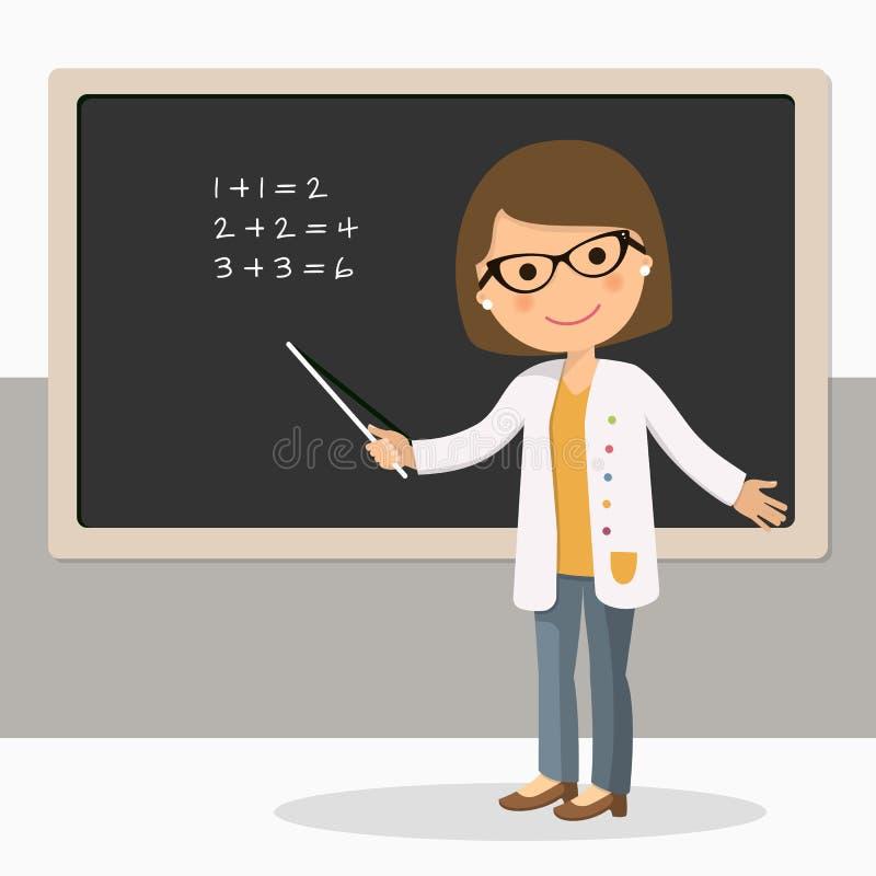 算术教训的年轻女老师在黑板在教室 库存例证