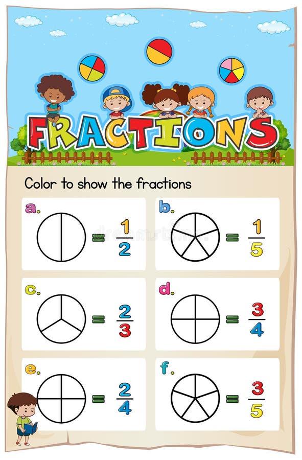 算术颜色的活页练习题模板分数 库存例证