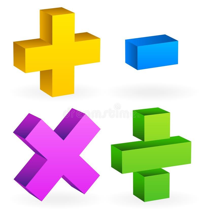 算术,数学标志 皇族释放例证