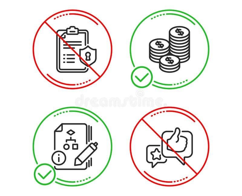 算法、硬币和隐私权政策象集合 r 项目,现金金钱,清单星规定值 ?? 库存例证