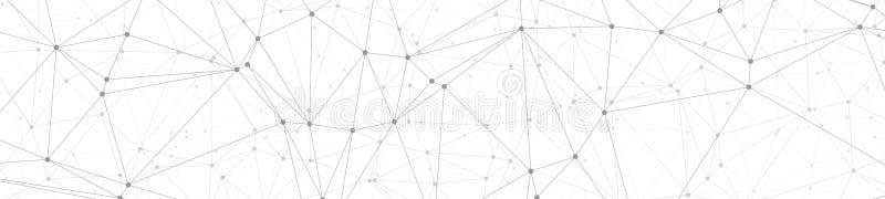 算法数字信号处理,传染媒介线和圈子小点连接了,宽横幅或倒栽跳水背景 库存例证
