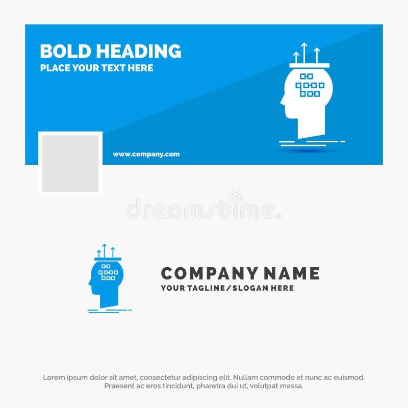 算法的蓝色企业商标模板,脑子,结论,过程,认为 r r 库存例证