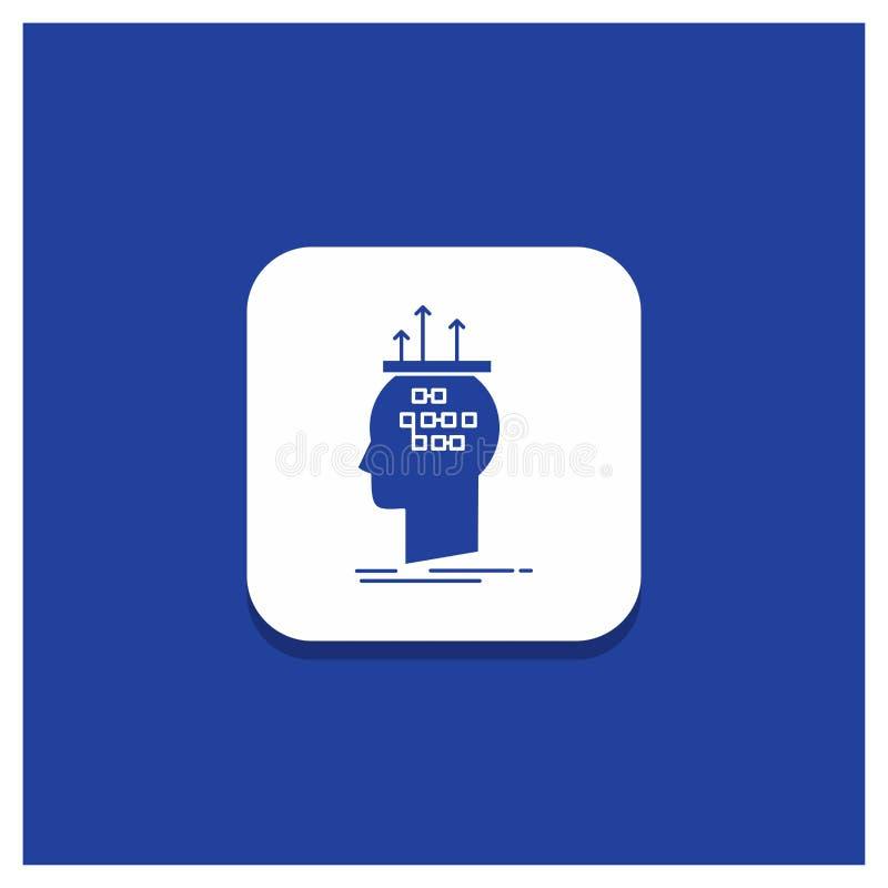 算法的蓝色圆的按钮,脑子,结论,过程,想法的纵的沟纹象 库存例证