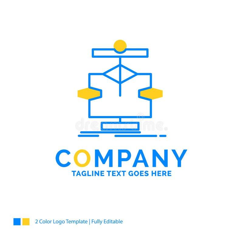 算法,图,数据,图,流程蓝色黄色企业商标 皇族释放例证