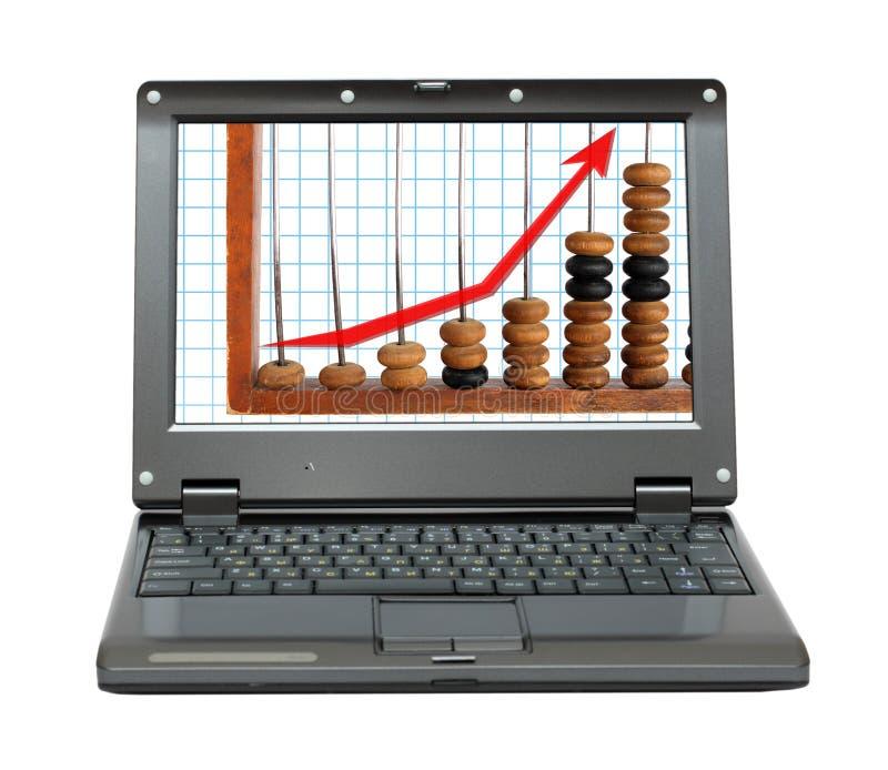算盘绘制增量膝上型计算机 库存照片