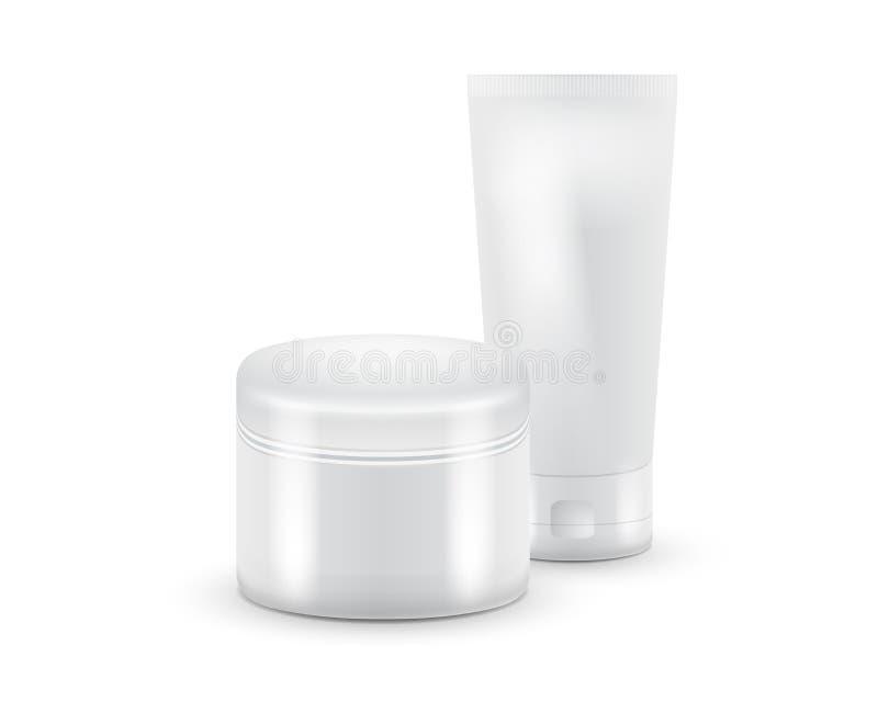 管化妆用品的传染媒介例证 牙膏,奶油,胶凝体,血清或清洗 产品装箱 库存例证