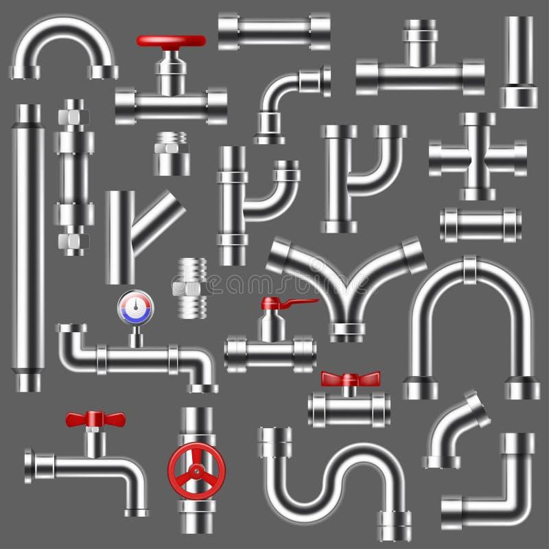 管子传染媒介配管管道或金属管道系统例证套的用管道输送的管材建筑金属管 皇族释放例证