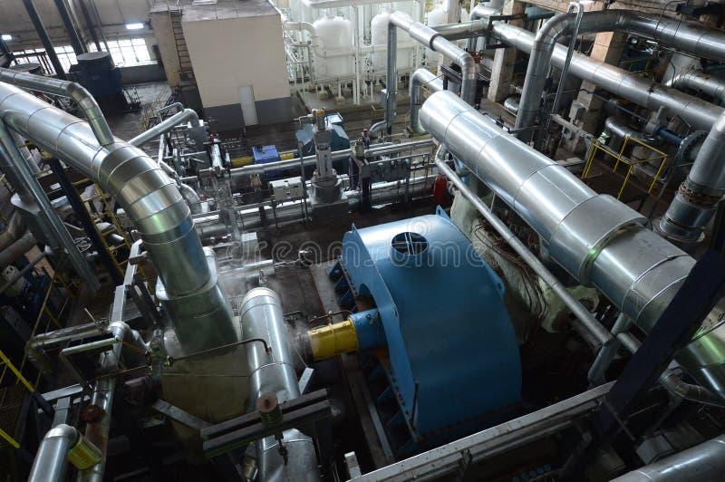 管子在能源厂 免版税库存照片
