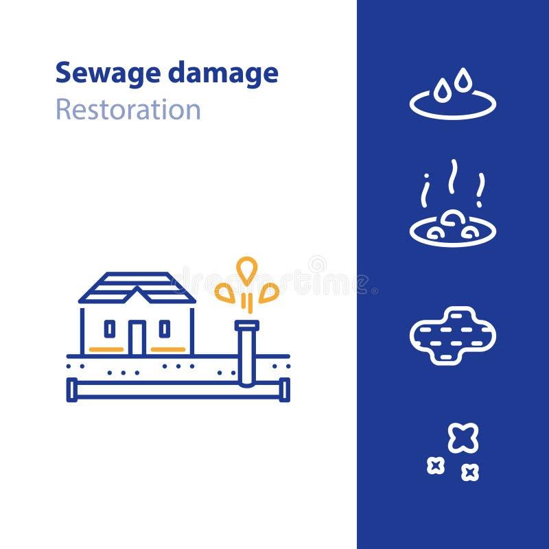 管子打破,漏水,下水道损伤概念象 库存例证