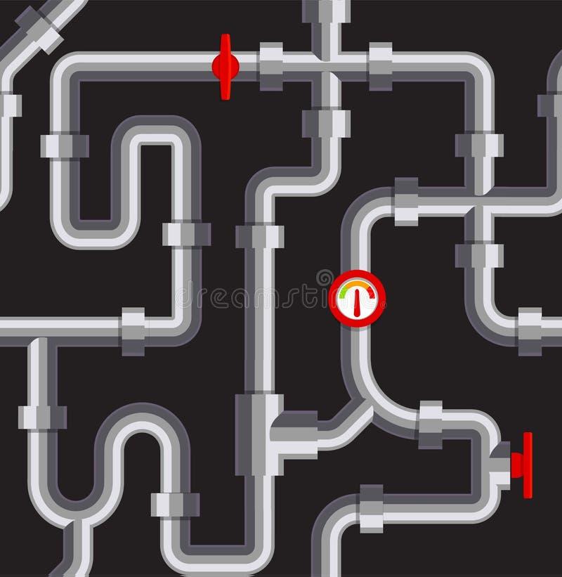 管子无缝的样式 锅炉室纹理 配管传染媒介例证 管道反复性在黑背景 向量例证