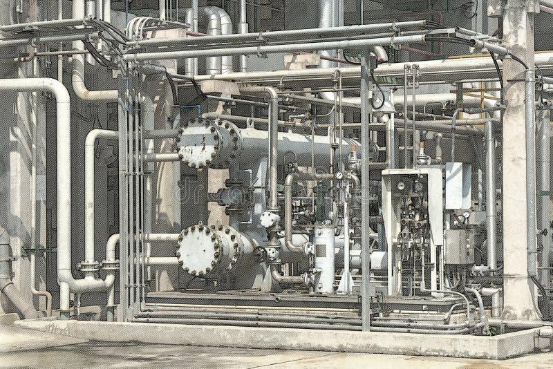 管子的剪影在精炼厂产业的 免版税库存照片