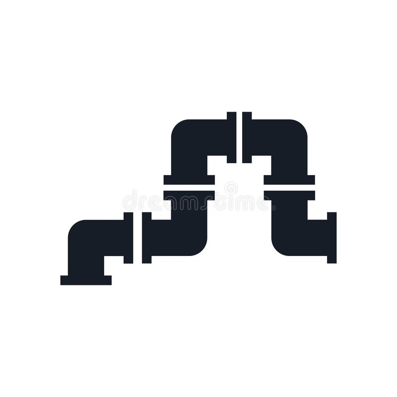 管子象在白色背景和标志隔绝的传染媒介标志,管子商标概念 库存例证