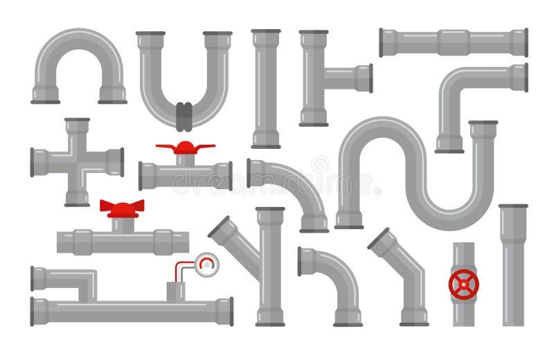 管子,水汇集的类型的传染媒介例证 钢和塑料连接器,在灰色颜色的管子与红色 向量例证